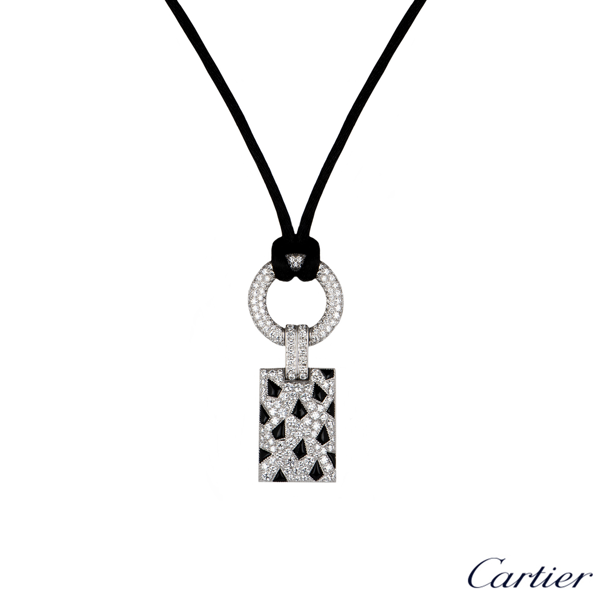 Cartier White Gold Diamond and Onyx Panthere Pendant N3014600